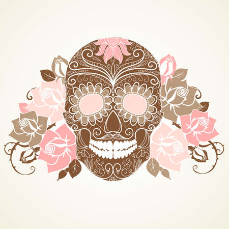 craneo: Cr?o y rosas, D?colorido de la tarjeta Dead Vectores