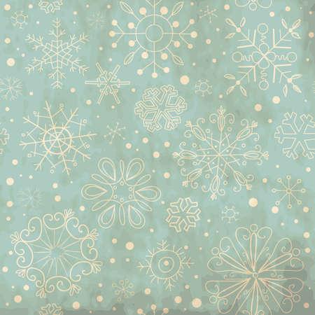 雪片でヴィンテージの青いシームレスな飾り