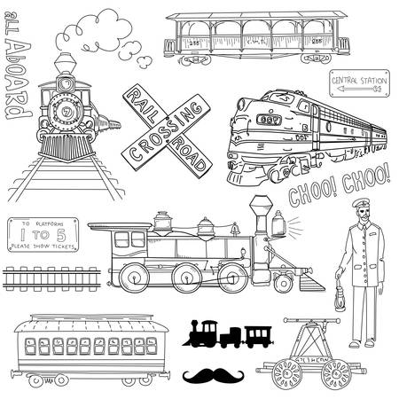 steam locomotives: Collection of vintage trains and railroad doodles