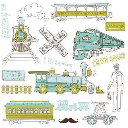 steam iron: Collection of vintage trains and railroad doodles