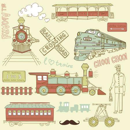 carreta madera: Recolecci?n de trenes de ?poca y garabatos del ferrocarril Vectores