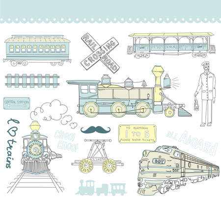 Collectie van vintage treinen en spoorweg krabbels