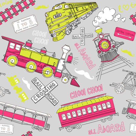 Samles pattern vintage trains and railroad doodles Vector