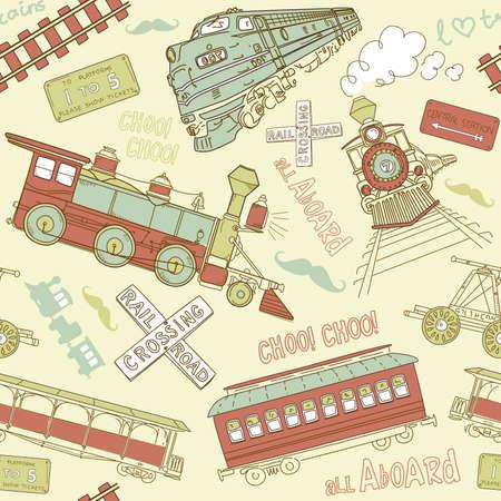 系統パターン ビンテージ列車と鉄道のいたずら書き  イラスト・ベクター素材