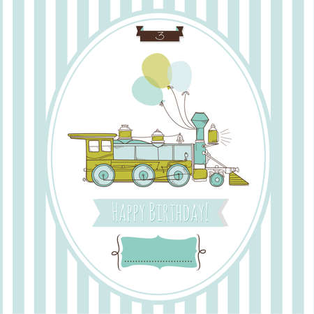 Cute blue and green train birthday card, Vector