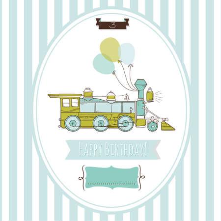 vendimia: Lindo azul y tarjeta de cumpleaños del tren verde, Vectores