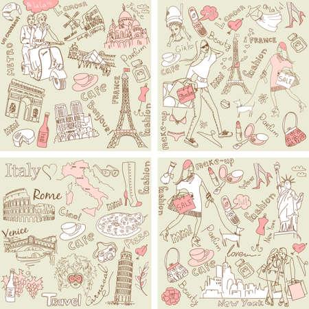 Italië, Frankrijk, USA - vier prachtige collecties van de hand getekende doodles