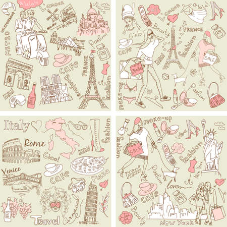 Italy, France, USA - four wonderful collections of hand drawn doodles Vectores