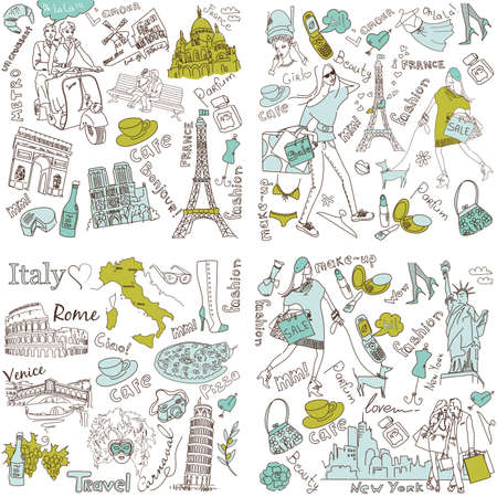 london tower bridge: Italy, France, USA - four wonderful collections of hand drawn doodles