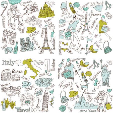 Olaszország, Franciaország, USA - négy csodálatos gyűjteménye kézzel rajzolt osok Illusztráció