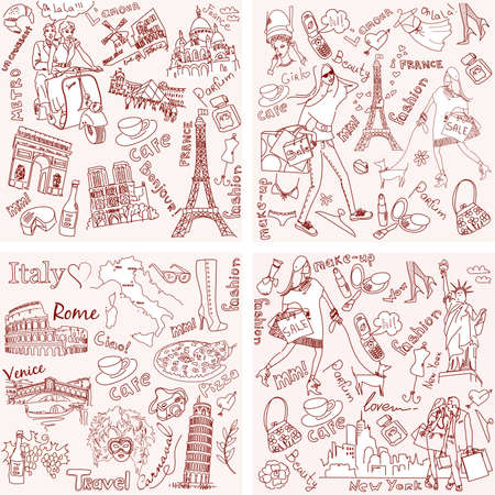Italy, France, USA - four wonderful collections of hand drawn doodles Stock fotó - 20468437