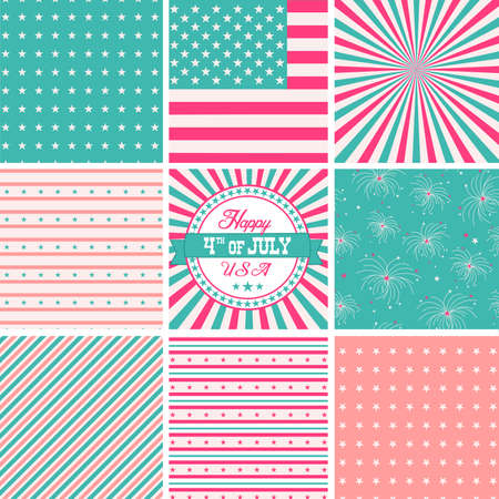 Pink White And Turquose, stars and stripes - USA backgrounds Vector