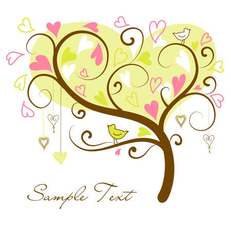 두 조류와 함께 마음의 양식에 일치시키는 사랑 나무 일러스트