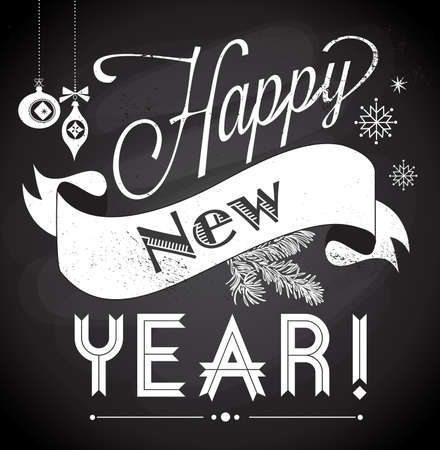 Chalkboard Happy New Year doodles Vector