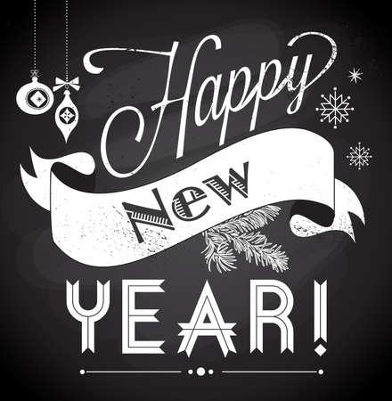 Chalkboard Happy New Year doodles Stock Vector - 20468409