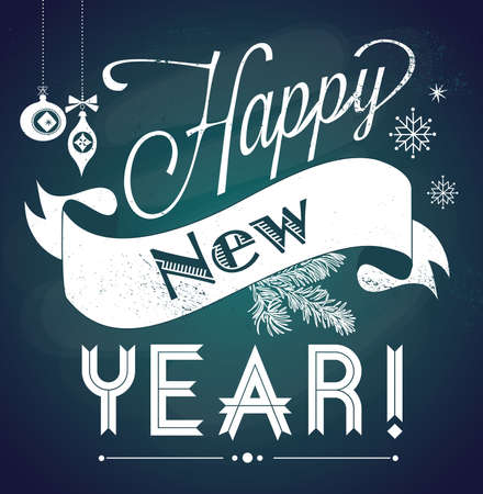 Chalkboard Happy New Year doodles 일러스트