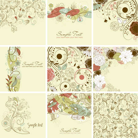 Set of cute floral greeting cards  Illustration