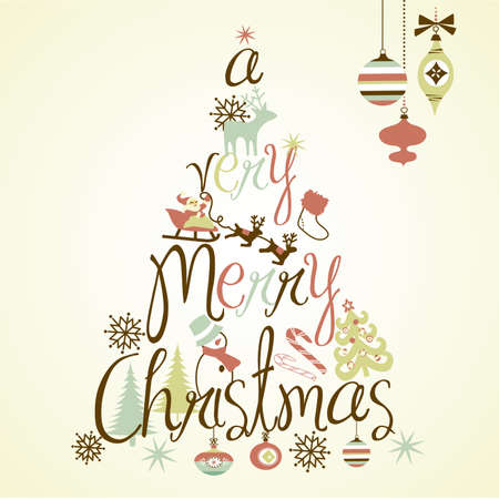 A Very Merry Christmas tree design  Vectores