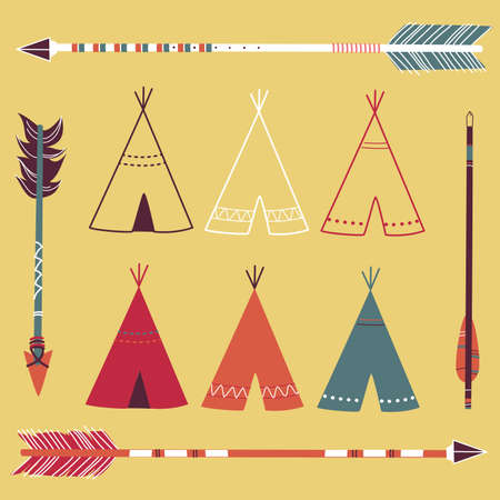 Teepee Tents and arrows - hipster style  Vector