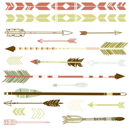 Ancient Arrow Drawing a Set of Cute Hipster Arrows