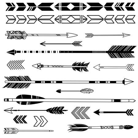 native american art: A set of cute hipster arrows, hand drawn doodles