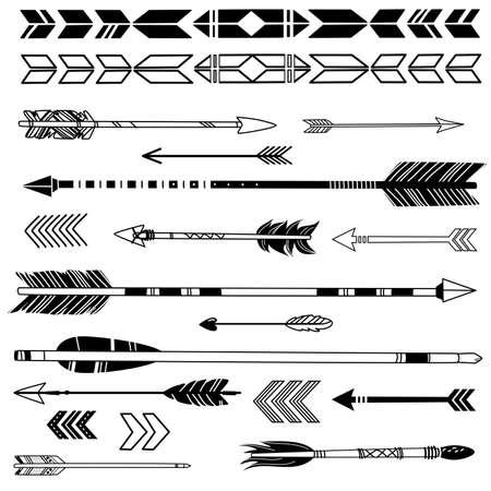 indio americano: Un conjunto de lindos flechas inconformista, mano dibuja garabatos Vectores