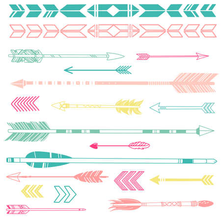 A set of cute hipster arrows, hand drawn doodles