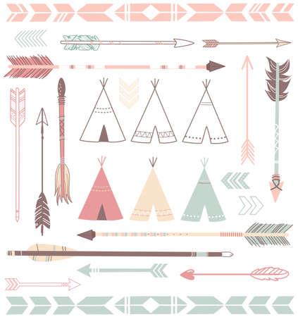 テントのテントと矢コレクション - ヒップスター スタイル  イラスト・ベクター素材