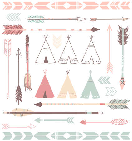 Teepee Tents and arrows collection - hipster style Banco de Imagens - 25077361