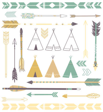 Tipi Tenten en pijlen collectie - hipster stijl Stock Illustratie