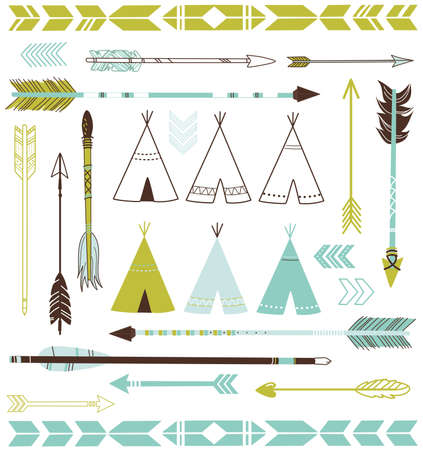 indian weapons: Teepee Tents and arrows collection - hipster style