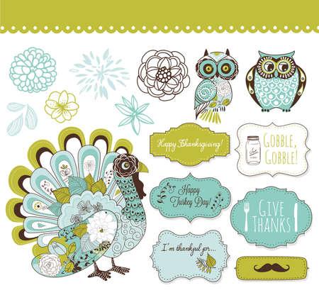 gobble: Happy Thanksgiving beautiful clip art  Illustration