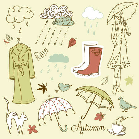 Rainy autumn days doodles Ilustração