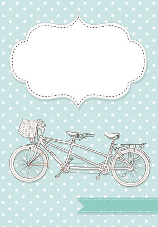 tandem bicycle: Tandem Bicycle Wedding Invitation with polka dot background