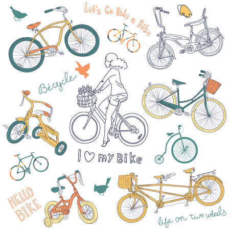 Vintage bicycle set and a beautiful girl riding a bike  Illustration