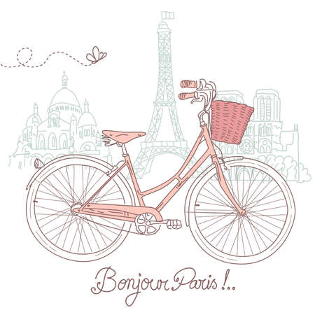 road bike: Riding a bike in style, Romantic postcard from Paris