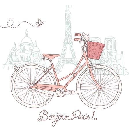 Rijden op een fiets in stijl, romantische postkaart uit Parijs Stock Illustratie