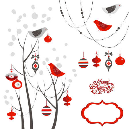 Retro Christmas card with two birds, white snowflakes, winter trees and baubles Imagens - 25077424