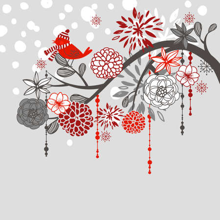 A winter branch with a bird and falling snow Ilustração