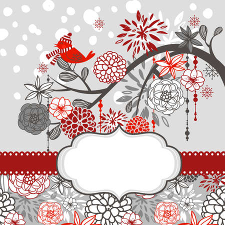 gray cards: A winter branch with a bird and falling snow Illustration