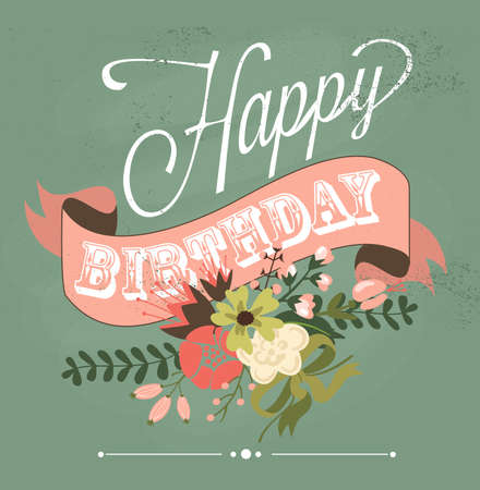 Birthday card in chalkboard calligraphy style with cute flowers  Vettoriali