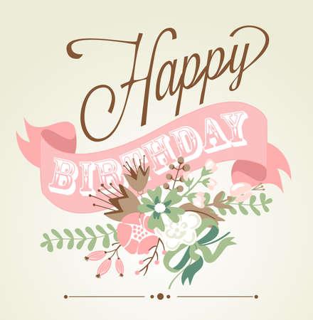 flores de cumpleaños: Tarjeta de cumpleaños en el estilo de caligrafía pizarra con las flores lindas