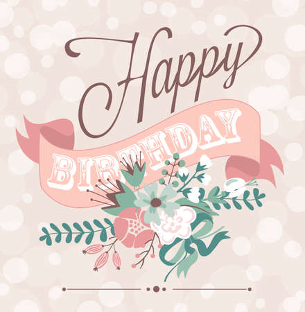 Birthday card in chalkboard calligraphy style with cute flowers Imagens - 25077278
