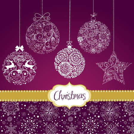 white christmas: Paarse en Witte Kerst ornamenten