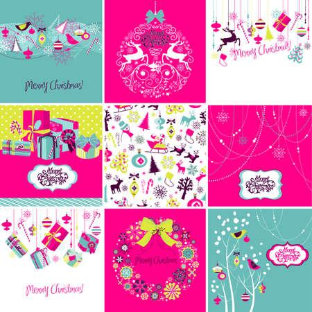Set of Christmas Cards Imagens - 25077289