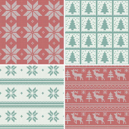 A set of traditional christmas knitted Scandinavian seamless patterns Imagens - 25077296