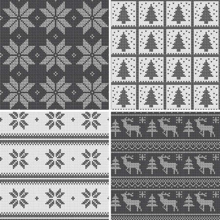 A set of traditional christmas knitted Scandinavian seamless patterns in black and white