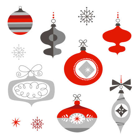 Set of Retro Christmas Ornaments Imagens - 25077310