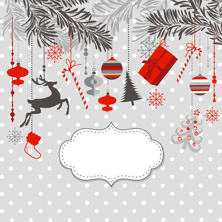 Christmas background in grey, red, white and black colours. Imagens - 25077167