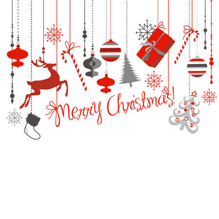 Christmas background in grey, red, white and black colours. Vector